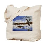 Snowy winter landscape Tote Bag