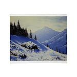 Winter mountain scene Throw Blanket