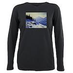 Winter mountain scene Plus Size Long Sleeve Tee