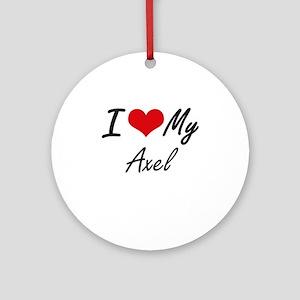 I Love My Axel Round Ornament