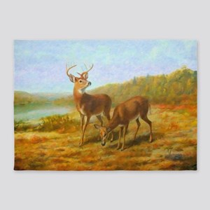 Deer by Lake 5'x7'Area Rug