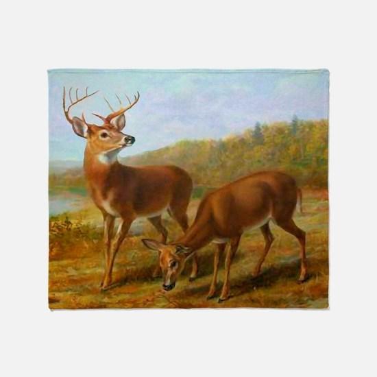Deer By Lake Throw Blanket