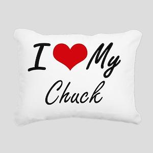 I Love My Chuck Rectangular Canvas Pillow