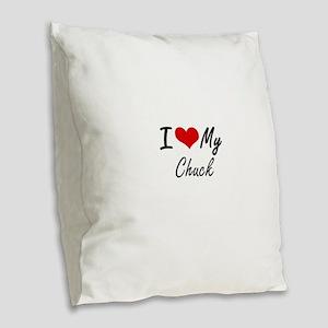 I Love My Chuck Burlap Throw Pillow