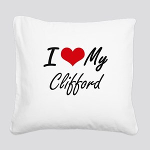 I Love My Clifford Square Canvas Pillow
