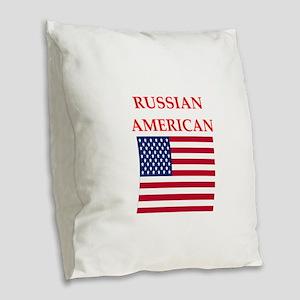 russian Burlap Throw Pillow