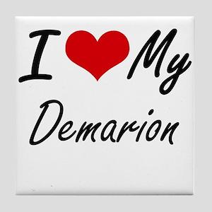 I Love My Demarion Tile Coaster
