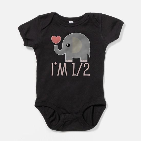 Half Birthday Elephant Baby Bodysuit
