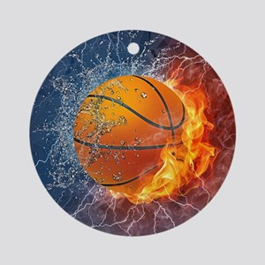 Flaming Basketball Ball Splash Round Ornament