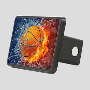 Flaming Basketball Ball Splash Rectangular Hitch C