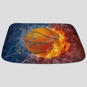Flaming Basketball Ball Splash Bathmat