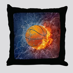 Flaming Basketball Ball Splash Throw Pillow
