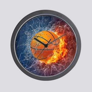 Flaming Basketball Ball Splash Wall Clock