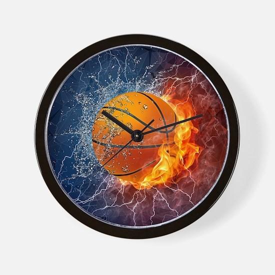 Flaming Basketball Ball Splash Wall Clock