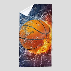 Flaming Basketball Ball Splash Beach Towel