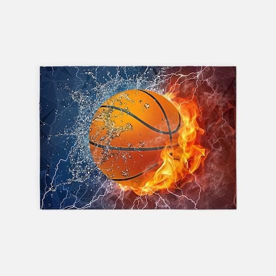 Flaming Basketball Ball Splash 5'x7'Area Rug