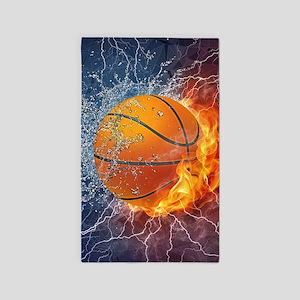 Flaming Basketball Ball Splash Area Rug