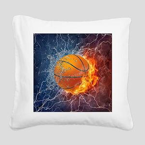 Flaming Basketball Ball Splash Square Canvas Pillo