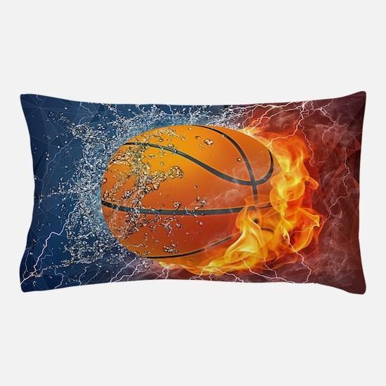 Flaming Basketball Ball Splash Pillow Case