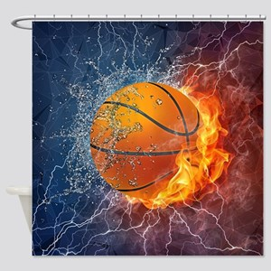 Flaming Basketball Ball Splash Shower Curtain