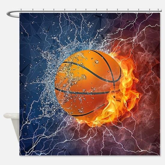 Flaming Basketball Ball Splash Shower Curtain
