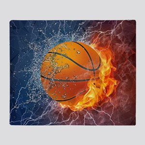 Flaming Basketball Ball Splash Throw Blanket