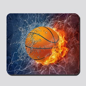 Flaming Basketball Ball Splash Mousepad