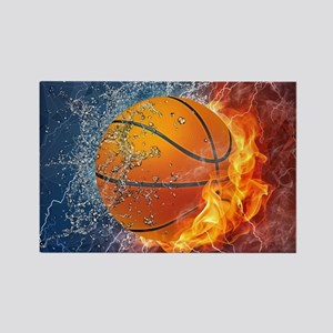 Flaming Basketball Ball Splash Magnets