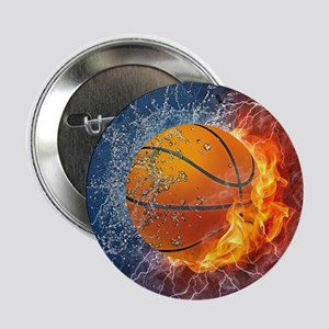 "Flaming Basketball Ball Splash 2.25"" Button (10 pa"