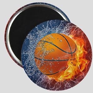 Flaming Basketball Ball Splash Magnets
