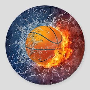 Flaming Basketball Ball Splash Round Car Magnet