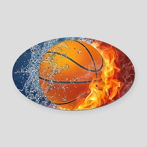Flaming Basketball Ball Splash Oval Car Magnet