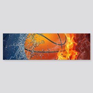 Flaming Basketball Ball Splash Bumper Sticker