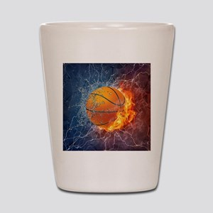 Flaming Basketball Ball Splash Shot Glass