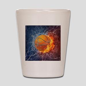 Flaming Basketball Ball Splash Shot Glass