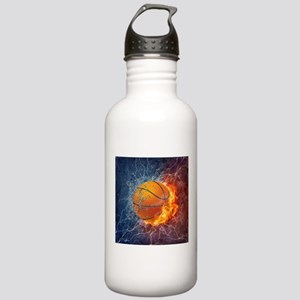 Flaming Basketball Ball Splash Sports Water Bottle