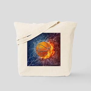 Flaming Basketball Ball Splash Tote Bag