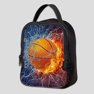 Flaming Basketball Ball Splash Neoprene Lunch Bag