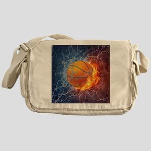 Flaming Basketball Ball Splash Messenger Bag