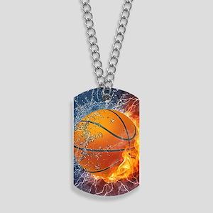 Flaming Basketball Ball Splash Dog Tags