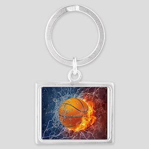 Flaming Basketball Ball Splash Keychains