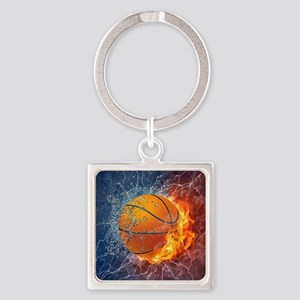 Flaming Basketball Ball Splash Keychains
