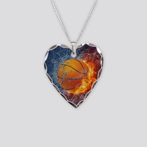 Flaming Basketball Ball Splash Necklace Heart Char