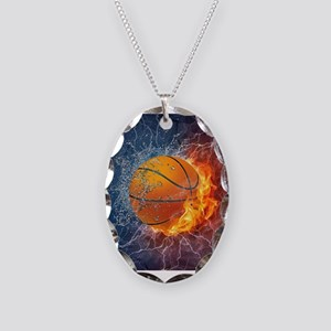 Flaming Basketball Ball Splash Necklace Oval Charm