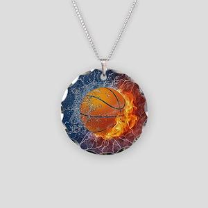 Flaming Basketball Ball Splash Necklace Circle Cha