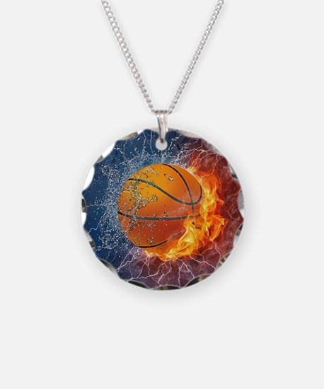 Flaming Basketball Ball Splash Necklace Circle Cha