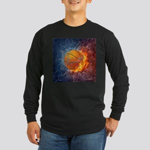 Flaming Basketball Ball Splash Long Sleeve T-Shirt