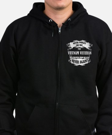 Vietnam Veteran T-shirt - Never Zip Hoodie (dark)