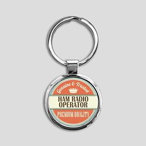 ham radio operator vintage logo Round Keychain