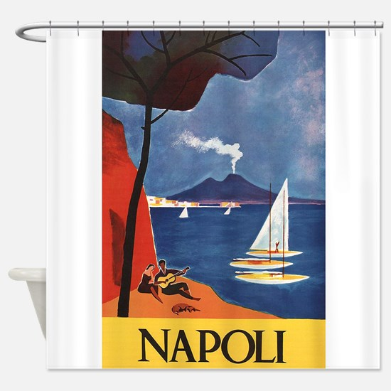 Napoli Vintage Italy Travel Poster Shower Curtain